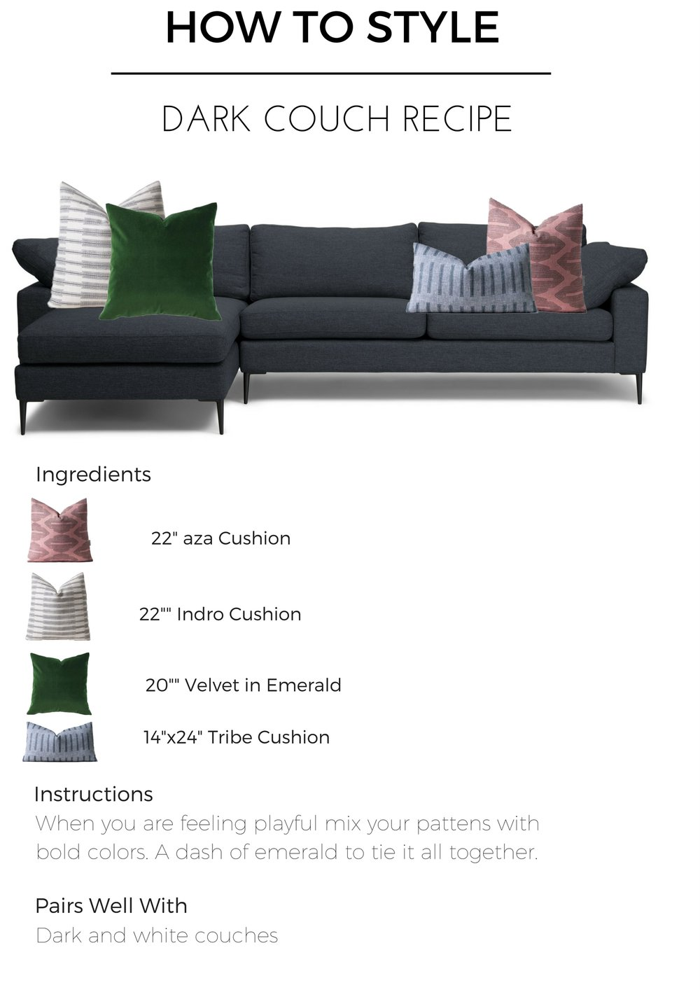 Dark couch pillow combinations