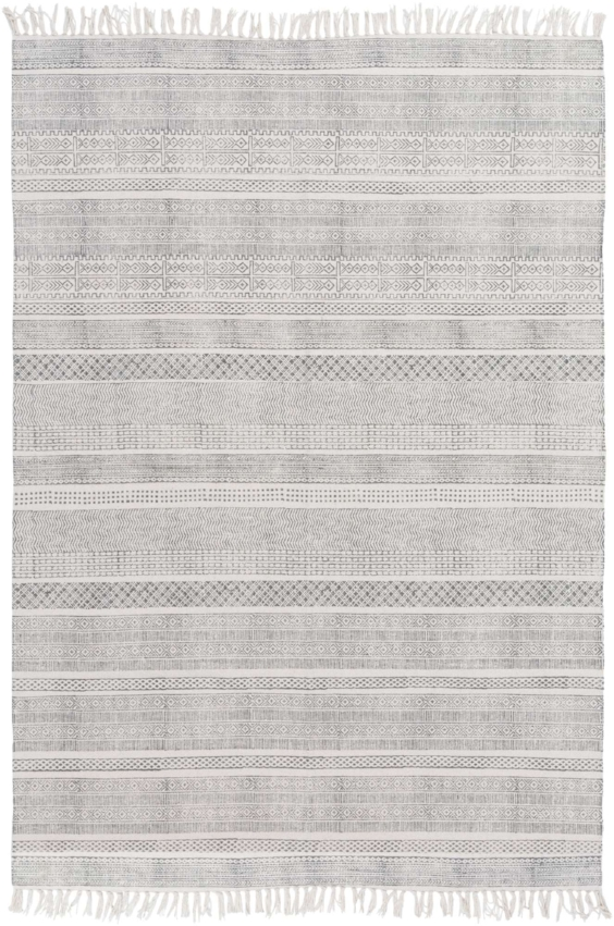 Stripped patterned flatweave living room rug