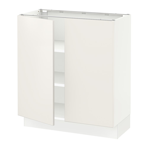 Base cabinet with shelves/2 doors, white, Veddinge white
