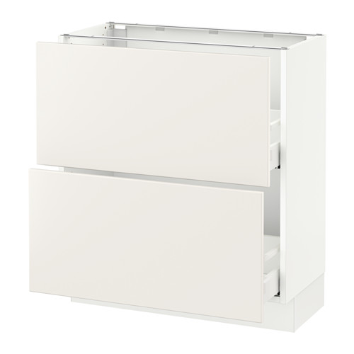 Base cabinet with 2 drawers, white Maximera, Veddinge white