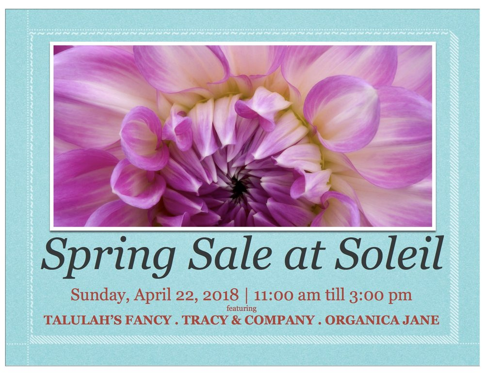 SONG HILL WINERY: We will be offering complimentary samples and selling glasses and bottles of our Chardonnay, Rosé, Cabernet Franc and Brut Rosé.  TALULAHY'S FANCY: I will be sharing my new spring collection, I'll have some fantastic promotions for you as well as some really great give-a-ways!  TRACY & COMPANY:  ORGANICA JANE: Amy Jane will be offering complimentary hand treatments with ✨Natural Scrub Remedy✨ and will also have her entire product line available for sample & sale.
