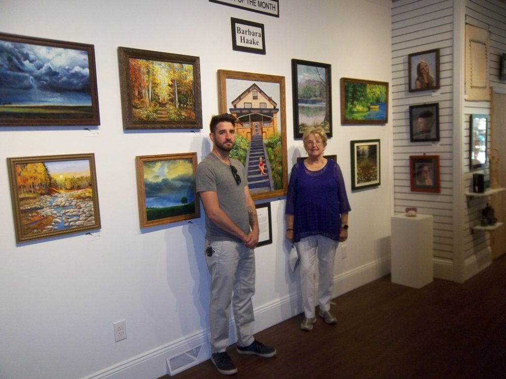 My son and I at September Art Show at Trumbull Art Gallery