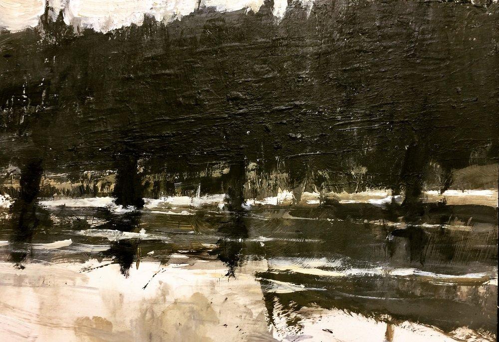 'Snow Along The Bow'  (Bow River. Alberta)