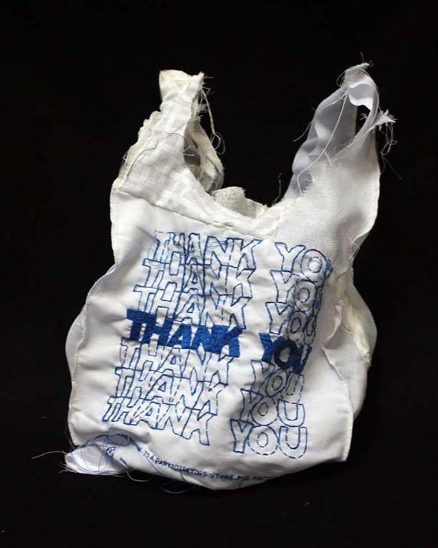We adore the work of californian artist @laurendicioccio. She developed this piece in collaboration with The Workshop Residence in response to San Francisco's citywide check-out bag ban. The THANK YOU THANK YOU tote bag is machine embroidered in red or blue on white taffeta. The bags are sturdy and washable totes, intended for daily use. Plastic bags are not biodegradable. They clog waterways, spoil the landscape, and end up in landfills where they may take 1,000 years or more to break down into ever smaller particles that continue to pollute the soil and water.
