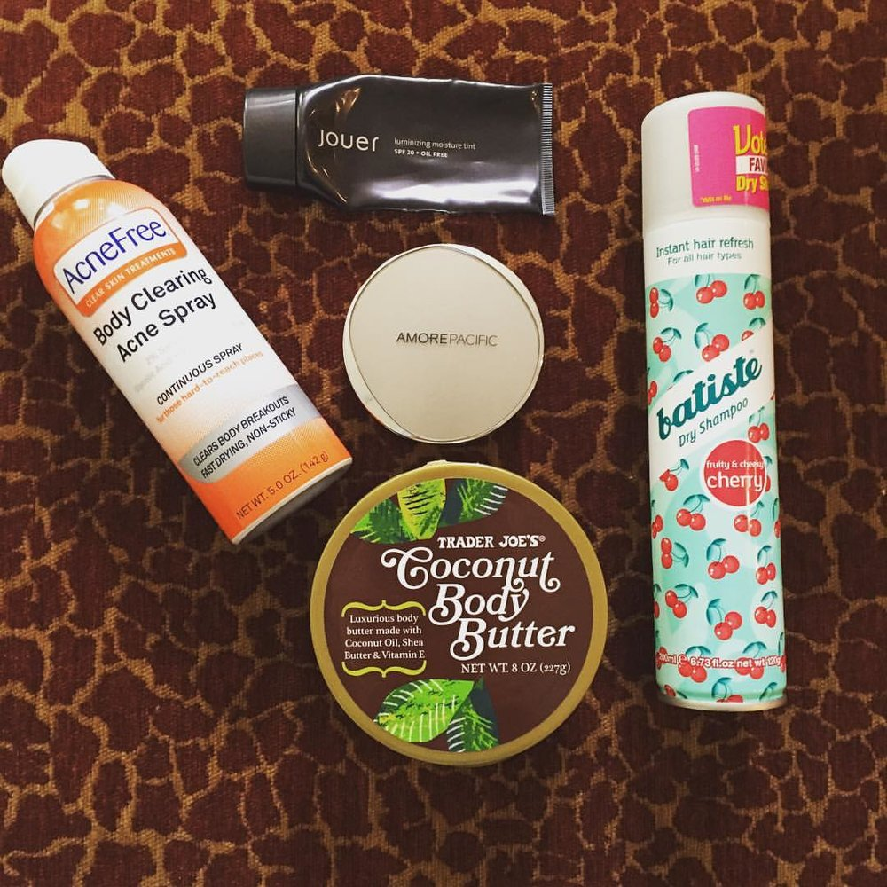 This week's #empties. @acnefree @jouercosmetics @amorepacific_us #traderjoes @batiste_hair #skincare #makeup #hair #beauty #tintedmoisturizer #cushioncompact #bodycream #dryshampoo