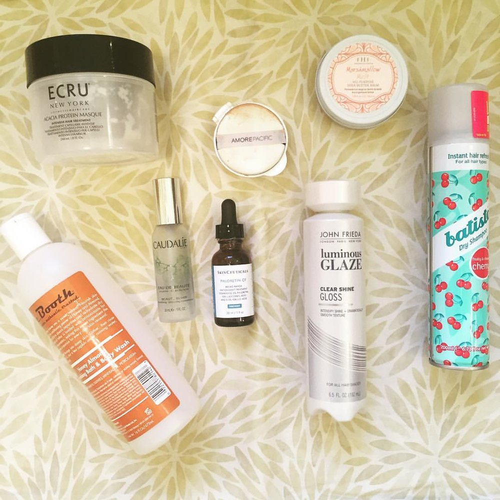 This week's #empties… @ecrunewyork #cbooth @caudalie @skinceuticals @amorepacific_us @farmhousefresh @johnfriedaus @batiste_hair #deepconditioner #bodywash #facemist #vitaminc #serum #hair #hairgloss #bodybalm #dryshampoo #hair #beauty #blogger