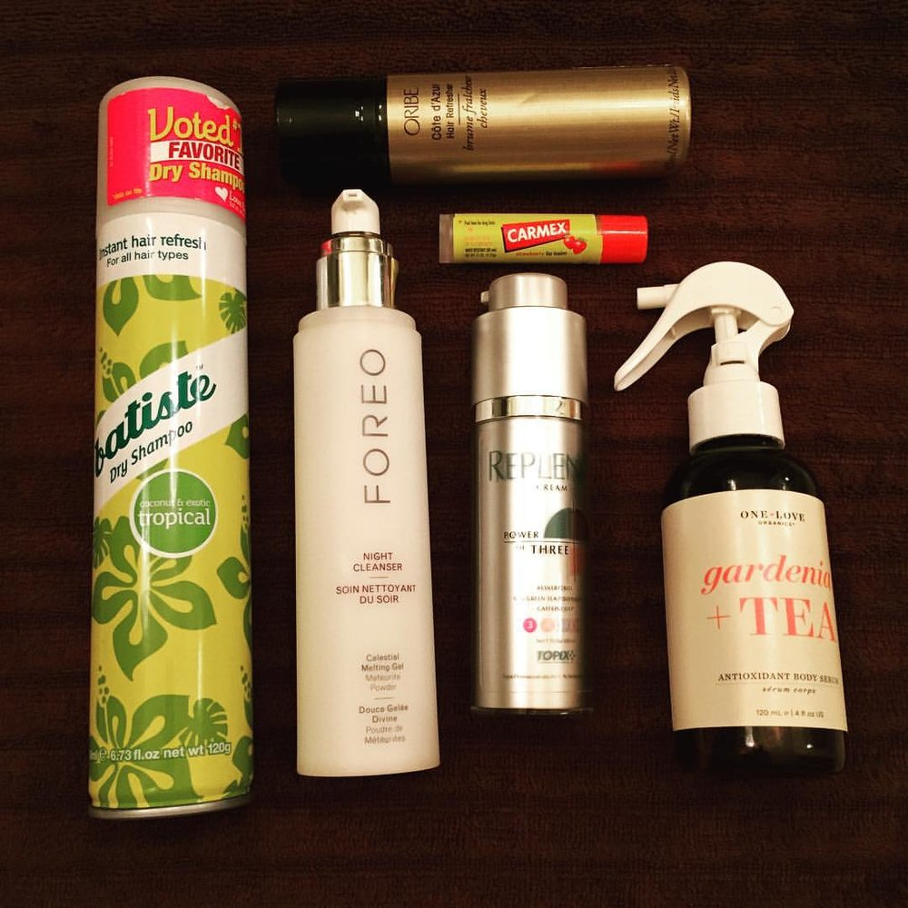 This week's #empties… @batistehair @foreo @oribe @mycarmex @oneloveorganics #replenix #hair #dryshampoo #skincare #cleanser #antioxidant #bodyserum #lipbalm #goodbye #farewell #beauty