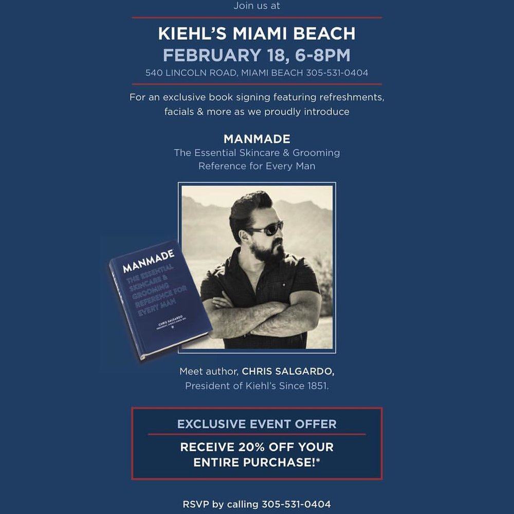 If you're in #Miami, don't miss the chance to meet the president of @kiehlsnyc! #party #lincolnroad #letsshop #manmade @chrissalgardo