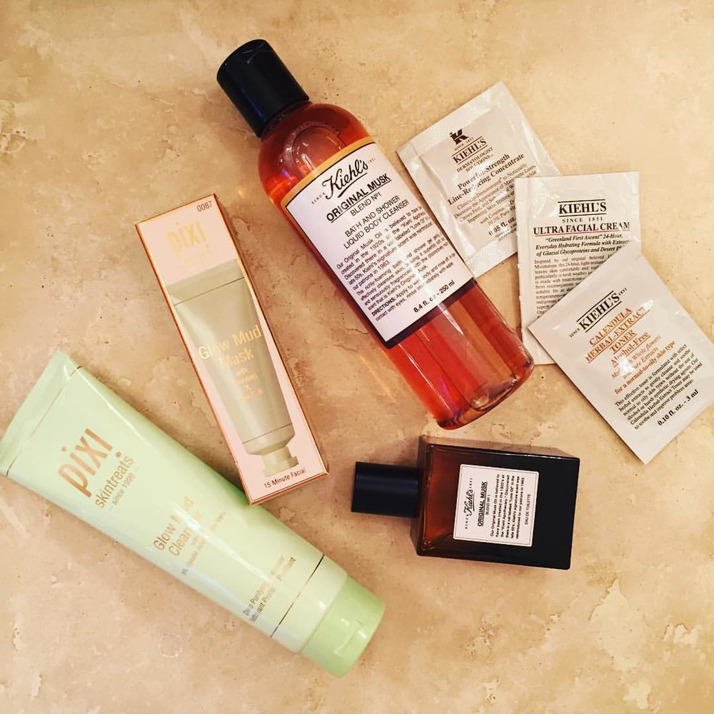 First new products of #2016. @pixibeauty @kiehlsnyc #mud #cleanser #mask #skincare #perfume #musk #bodywash #beauty #samples