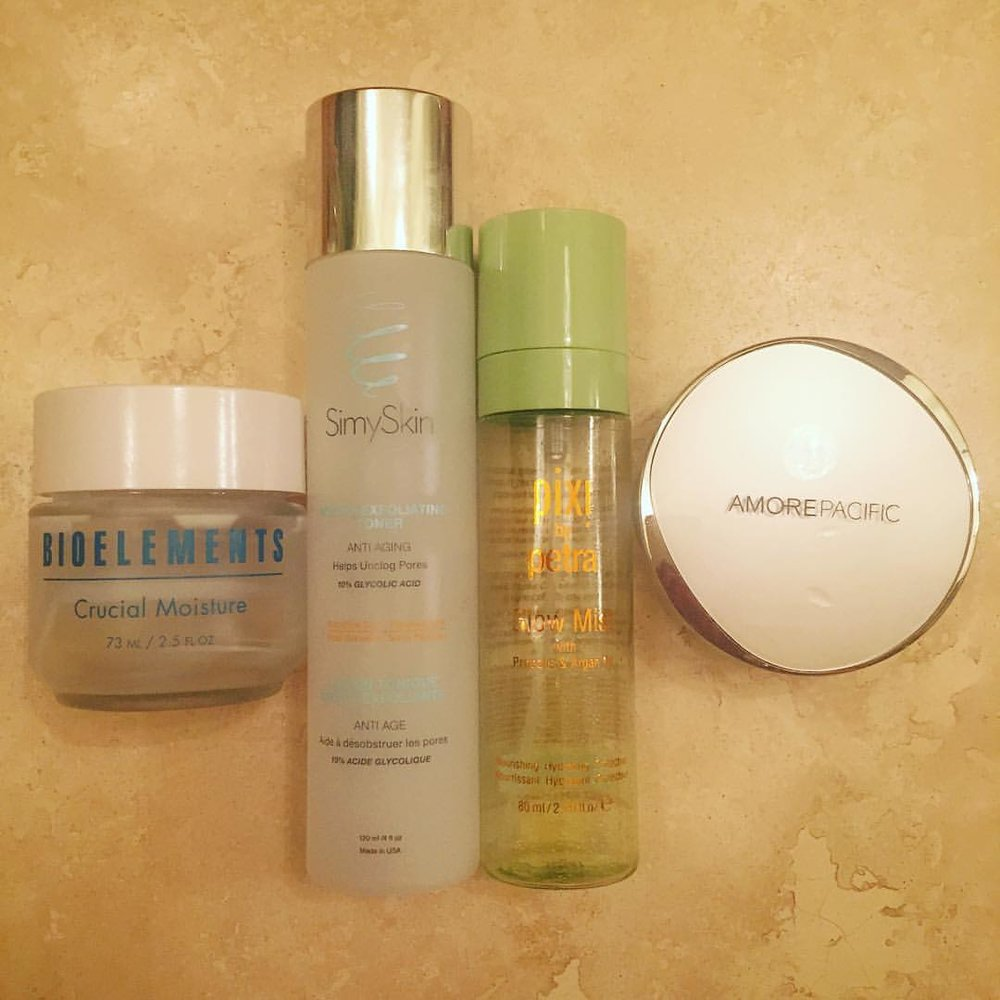 This week's #empties. @bioelements @simyskin @pixibeauty @amorepacific_us #moisturizer #toner #facialmist #cccompact #skincare #makeup #beauty #goodstuff