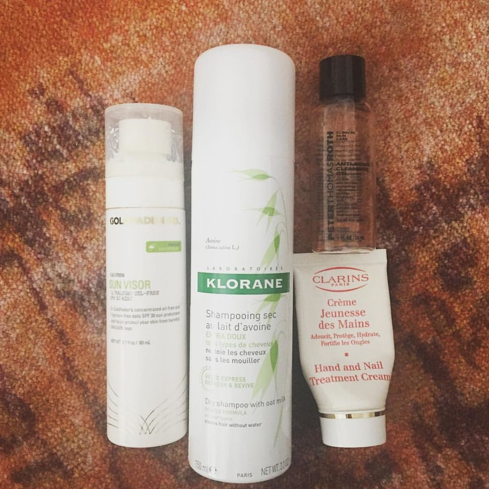 #nyc #empties @goldfadenmd @kloraneusa @clarinsnews @peterthomasrothlabs #sunscreen #dryshampoo #cleanser #handcream #skincare #hair #beauty