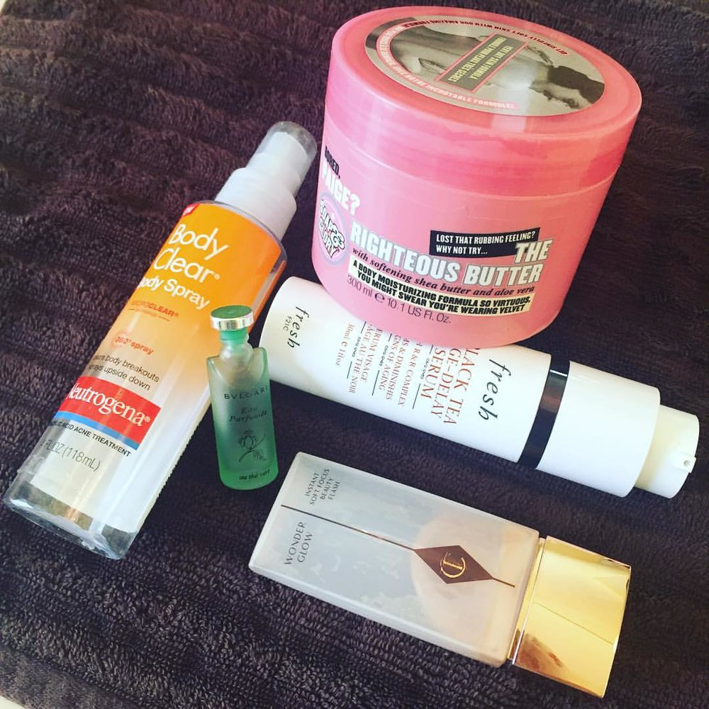 This week's #empties. @soapandglory @neutrogena @freshbeauty @bulgariofficial @ctilburymakeup #bodycream #antiaging #serum #acne #primer #makeup #perfume #fragrance #beauty