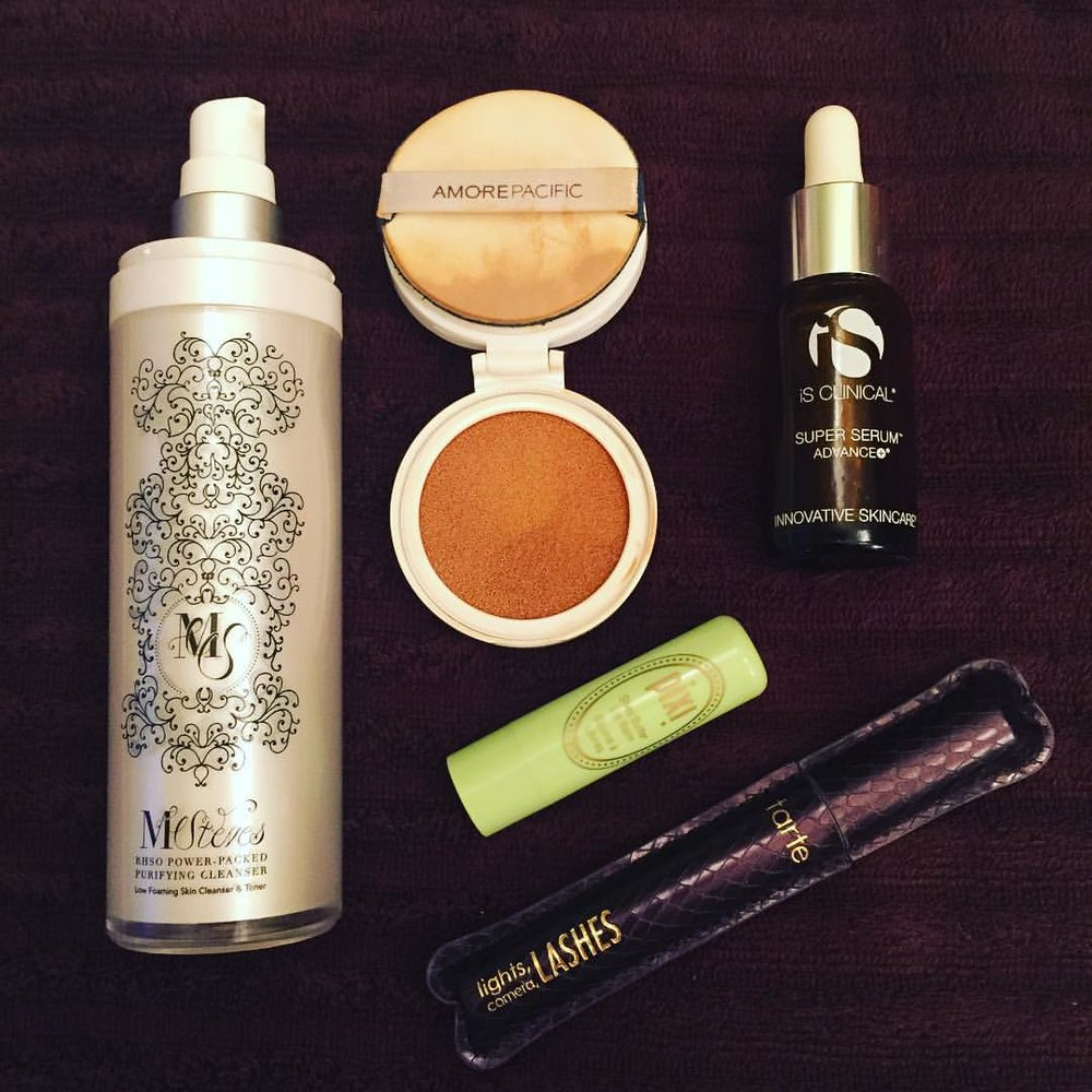 This week's #empties. #msteves #cleanser @amorepacific_us #cccompact @innovativeskincare #vitaminc @pixibeauty #lipbalm @tartecosmetics #mascara #beauty #skincare #makeup #youllbemissed