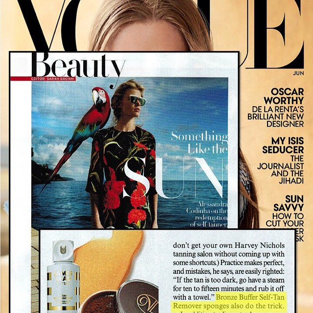 @bronzebuffer in the latest @voguemagazine. Quite possibly one of my most major moments. #missionaccomplished #bucketlist #press #selftan #faketan #justsaynotostreaks