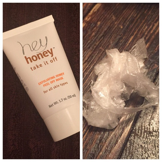 Is there anything better than an #exfoliating #mask that you don't need to wash off? I peeled this off while sitting in front of my computer. #Fridaynightfun @heyhoneyskincare #beauty #skincare #ilovemyjob