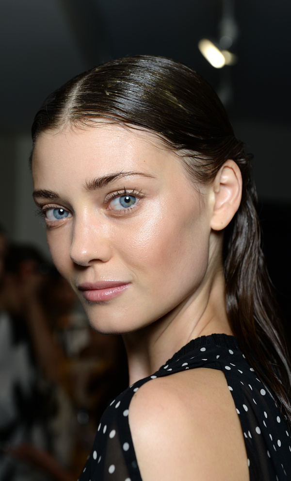 Effortlessly slicked back hair and barely-there au naturel makeup by NARS at Thakoon. LOVE!