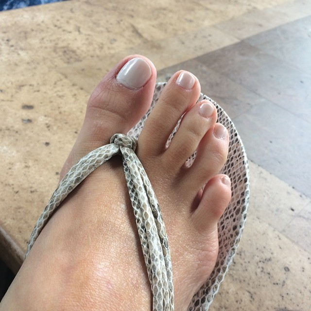 "Perfect #summer #pedicure color. @duricosmetics ""Queso Blanco"" has a touch of shimmer. #nails #whitehot #toes"