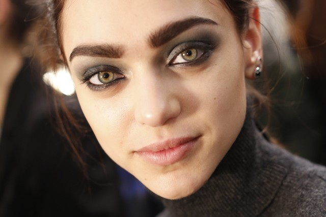 Possibly the world's most perfect smoky eye at Nicole Miller.