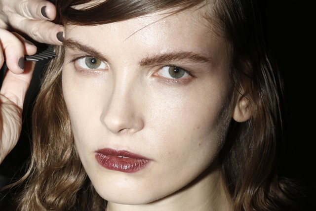 Love this moody makeup seen backstage at Giulietta.