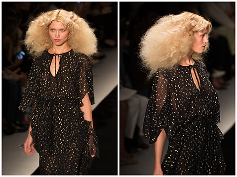 Finally, some dramatic Fashion Week beauty… This hair by Didier Malige for Rene Furterer at Reem Acra screams disco!