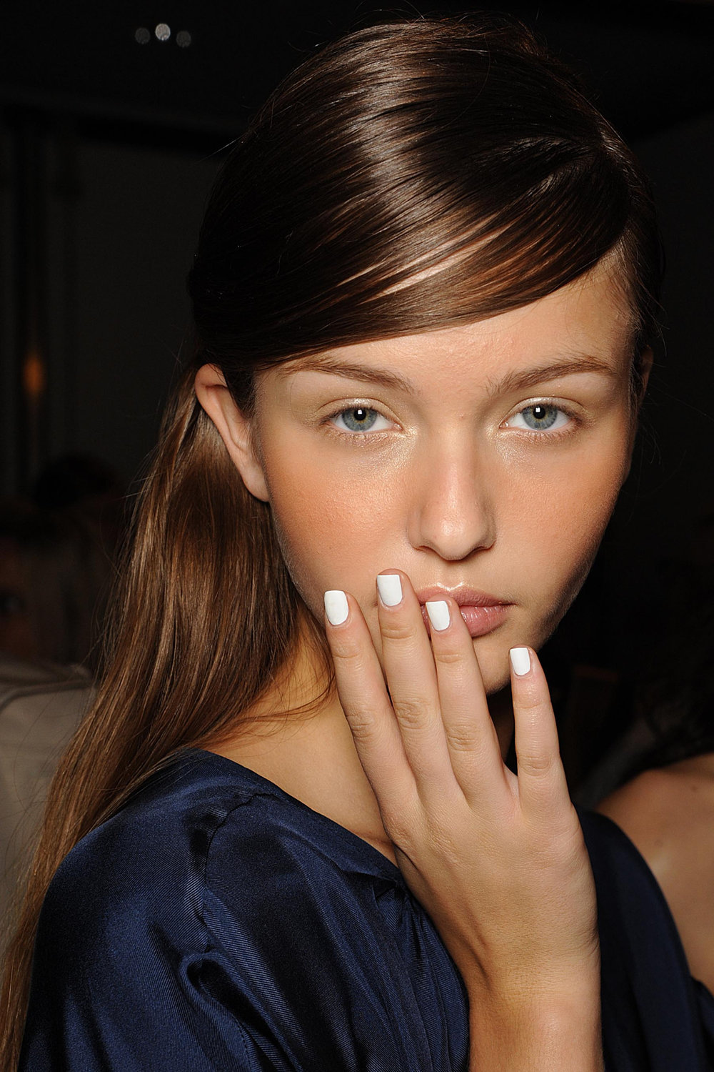 "Further proof that Spring 2014 is all about minimal shine:   butter LONDON  's Band of Outsiders stark white ""Cotton Buds"" topped with Matte Finish Shine Free Topcoat."