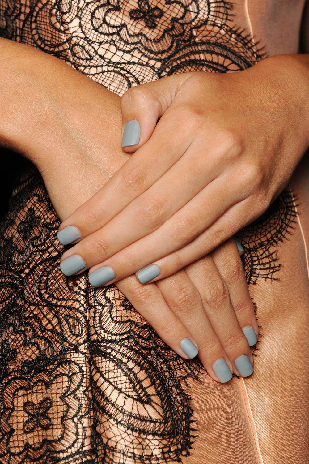 """Still not convinced to get on the matte track?butter LONDON's Lela Rose look featured two coats of """"Lady Muck"""" finished off with Matte Finish Shine Free Topcoat."""