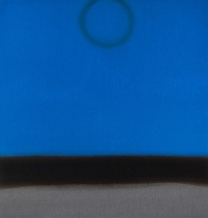 Susan Vecsey, Untitled (Cobalt/Silver), 2016, Oil on linen, 60 x 58 in. Photo cred: Berry Campbell Gallery