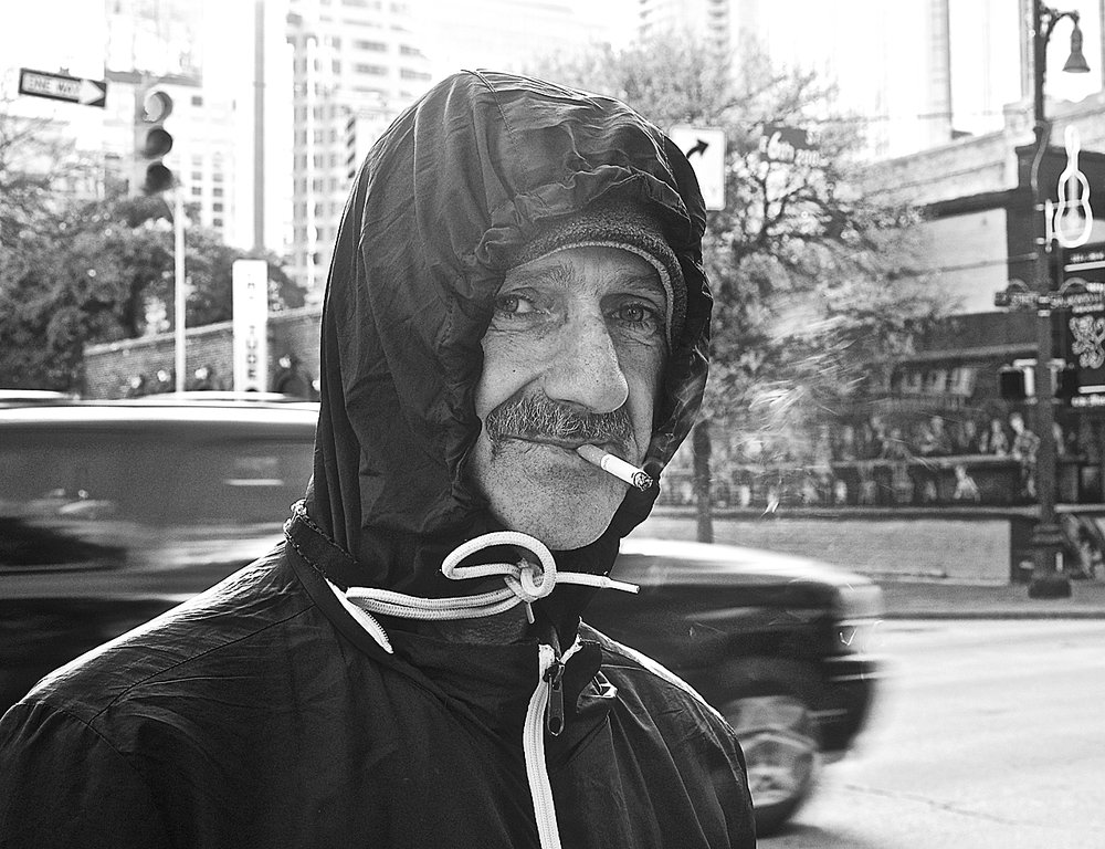 Sixth Street portrait: bundled up on a cold December day