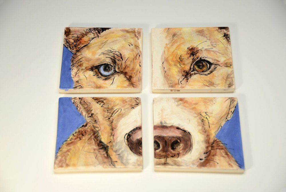 "Eli, Ceramic Coaster Set, Low Fire Clay, Underglazes and Glaze,8 1/2"" x 8 1/2"", each 4 1/4"" x 4 1/4"","