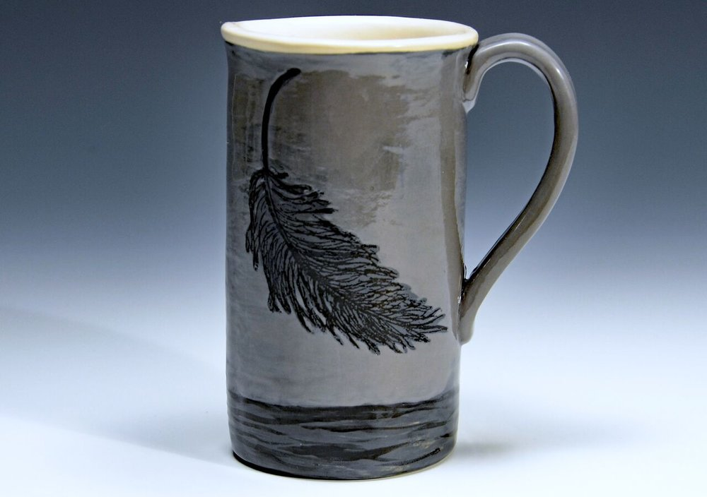 "Tall Grey Feather Mug, Stoneware, Screenprinted with Underglazes and Glaze, 3 1/4""w x 5 3/4""h"