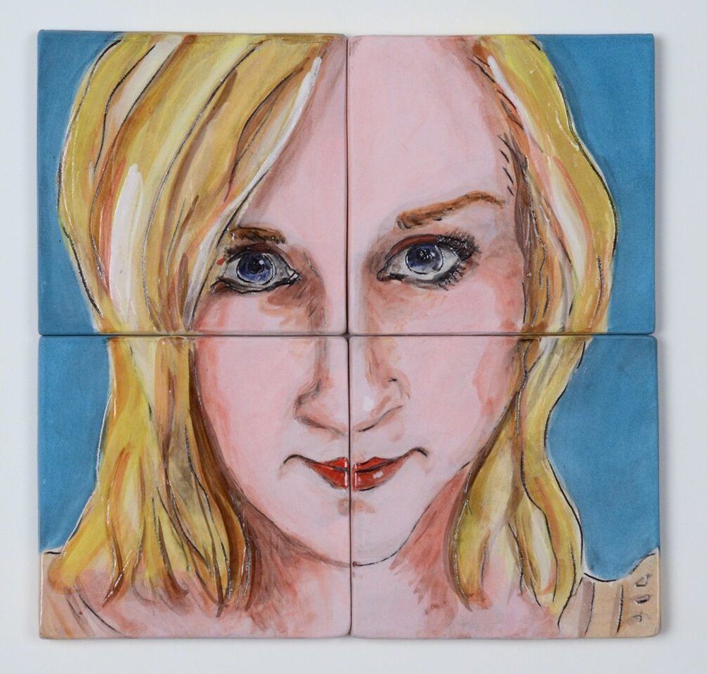 "Being Blonde, Ceramic Coaster Set, Low Fire Clay, Underglazes and Glaze, 8 1/2"" x 8 1/2"", each 4 1/4"" x 4 1/4"""