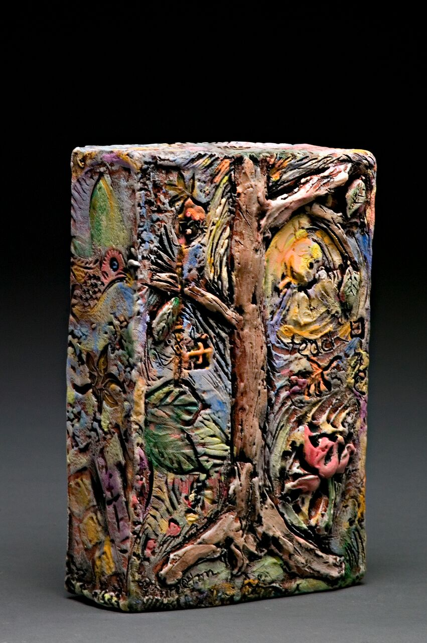 "The Tree Speaks, Low Fire Clay, Underglaze and Glaze, 7""w x 10""h x 3""d"