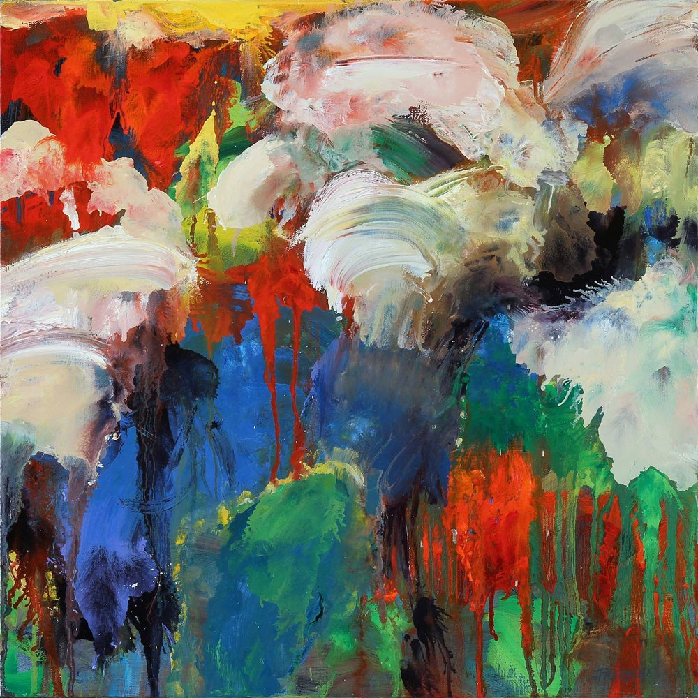 """When Doves Fly from Series: Abstracts- Oil on canvas- 18"""" x 18"""" - 2014"""