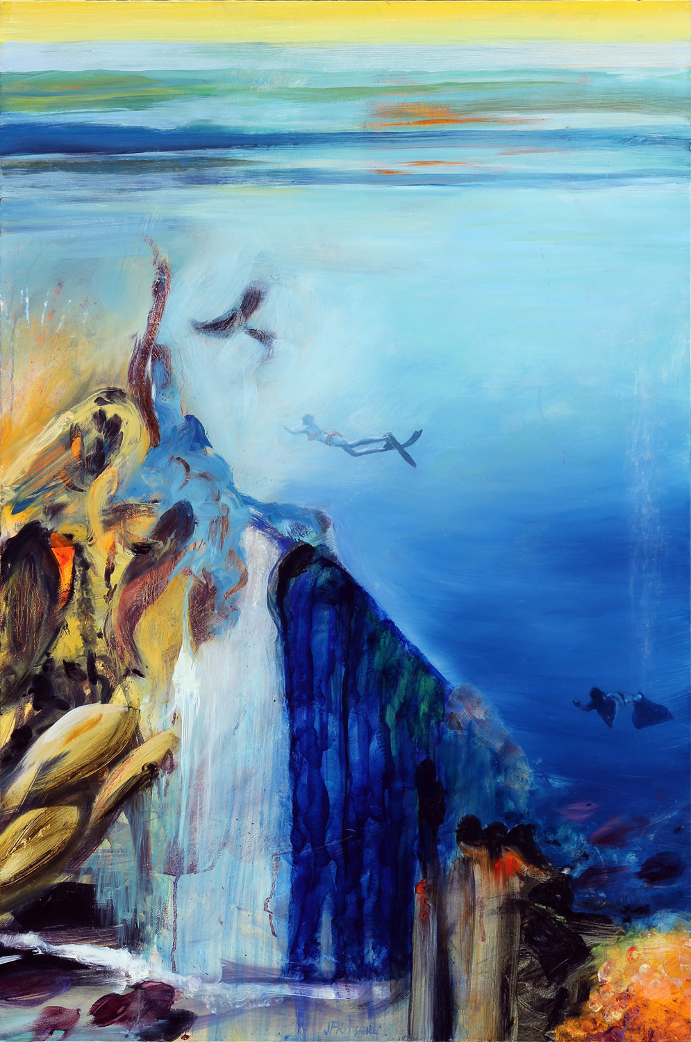"""Voyage to Turtle Station from Series: Kiss the Joy as It Flies- Oil on canvas- 36"""" x 24"""" - 2014"""