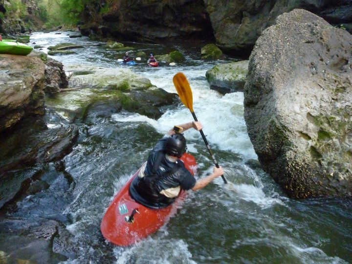 Entering the Upper Gorge of the Cuyahoga River, Paddler David Hill sets his line.