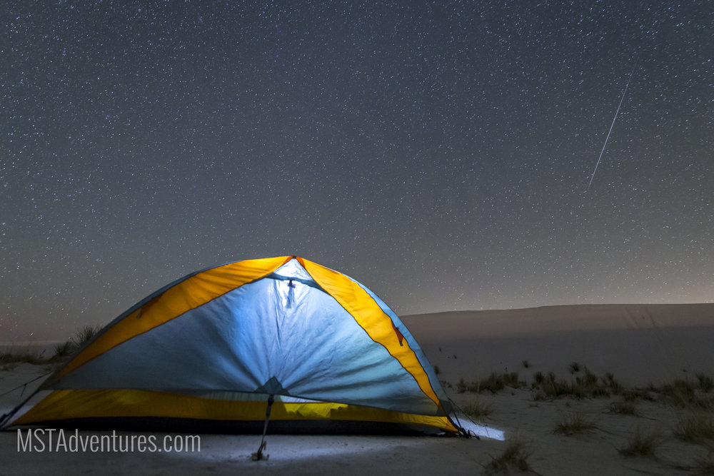 White Sands National Monument offers an excellent first-time backpacking experience - and a great view during meteor showers (like this Gemenid meteor captured in December, 2015).
