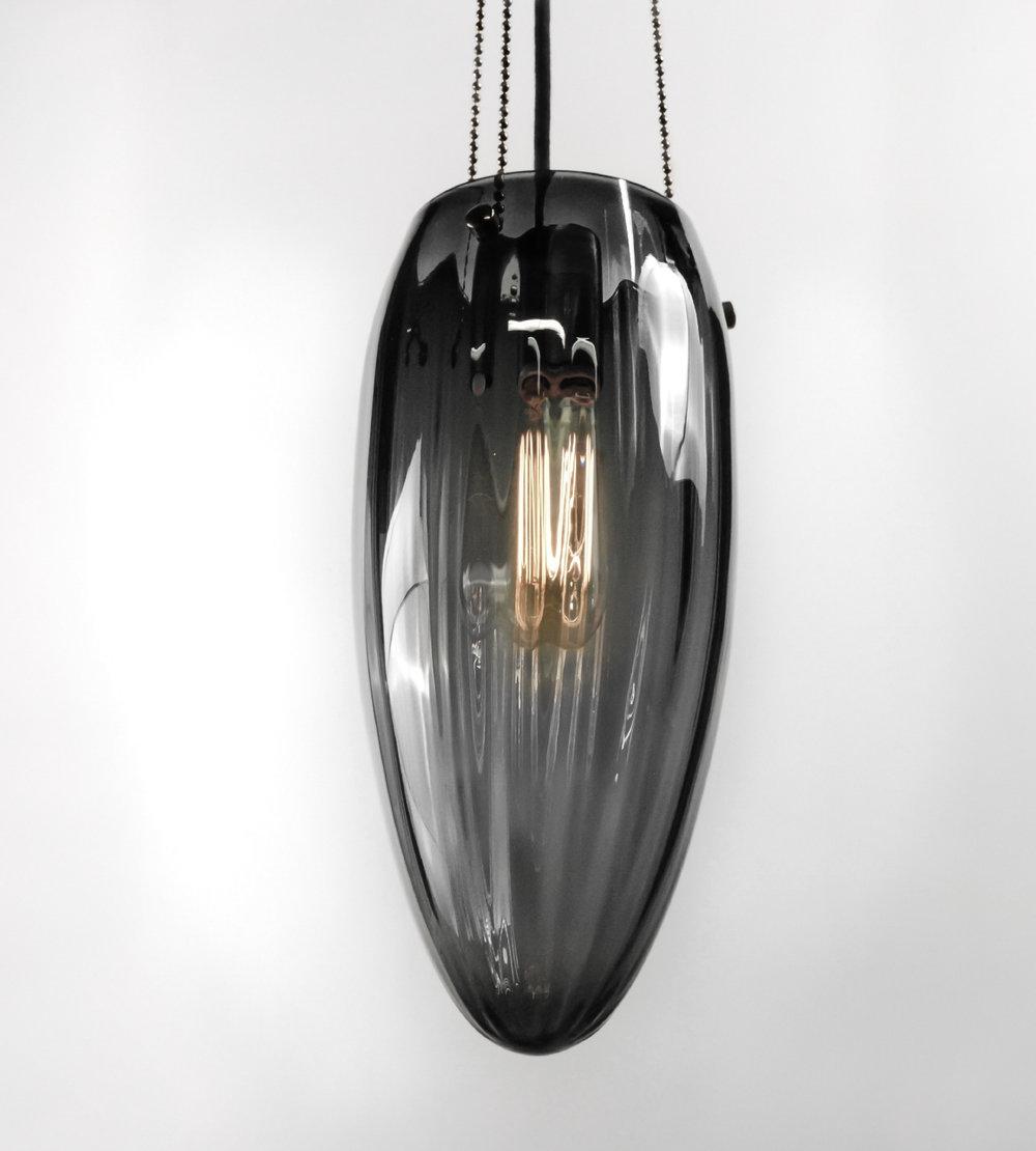 Shown in Dark Bronze with Gradient Grey Blown Glass
