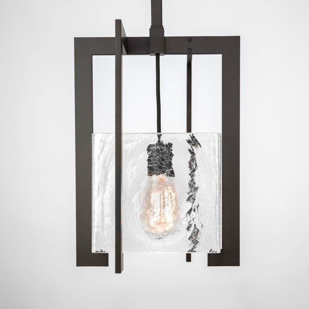 Shown in Dark Bronze with Crackled Glass