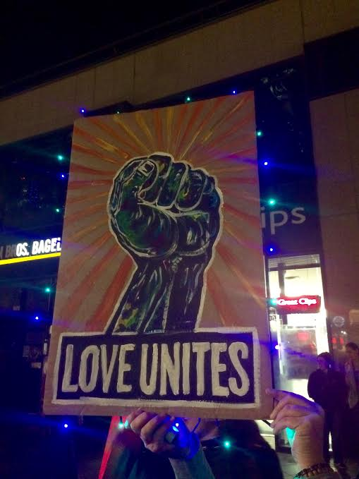 Many signs bore messages of unity and peace