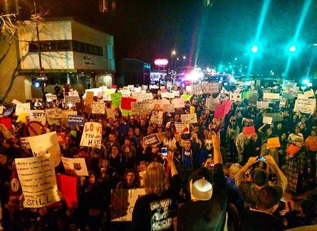 protestors gather in downtown Denver