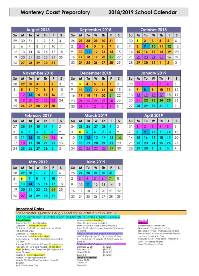 2018-2019 MCP School Calendar