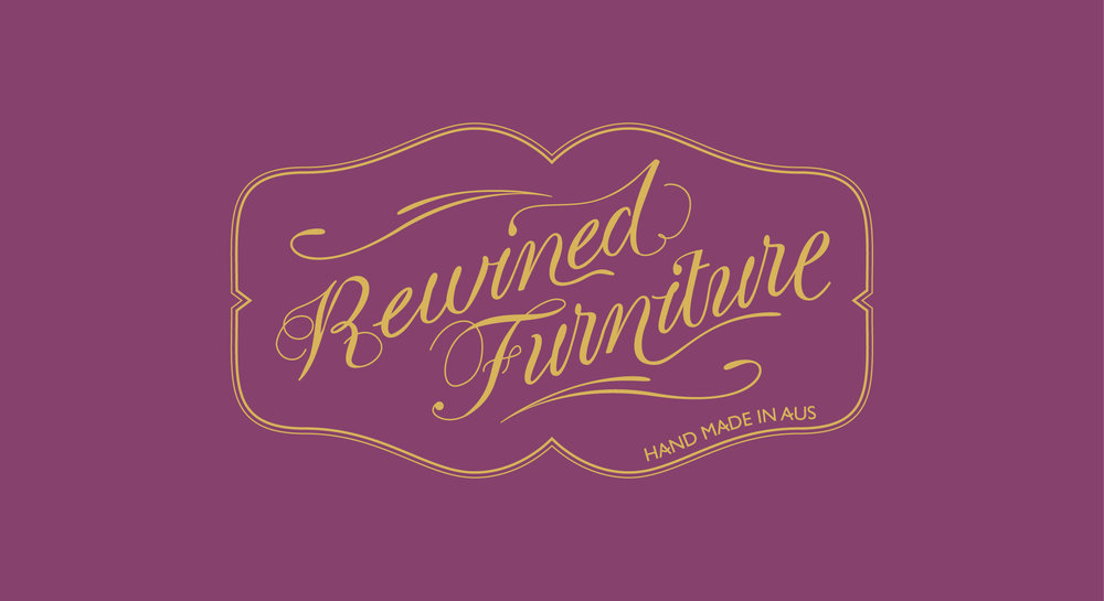Rewined Furniture creates custom and unique pieces of furniture from old wine barrels. Each piece is made by hand to order, so the goal was to represent this unique offering in the logo.