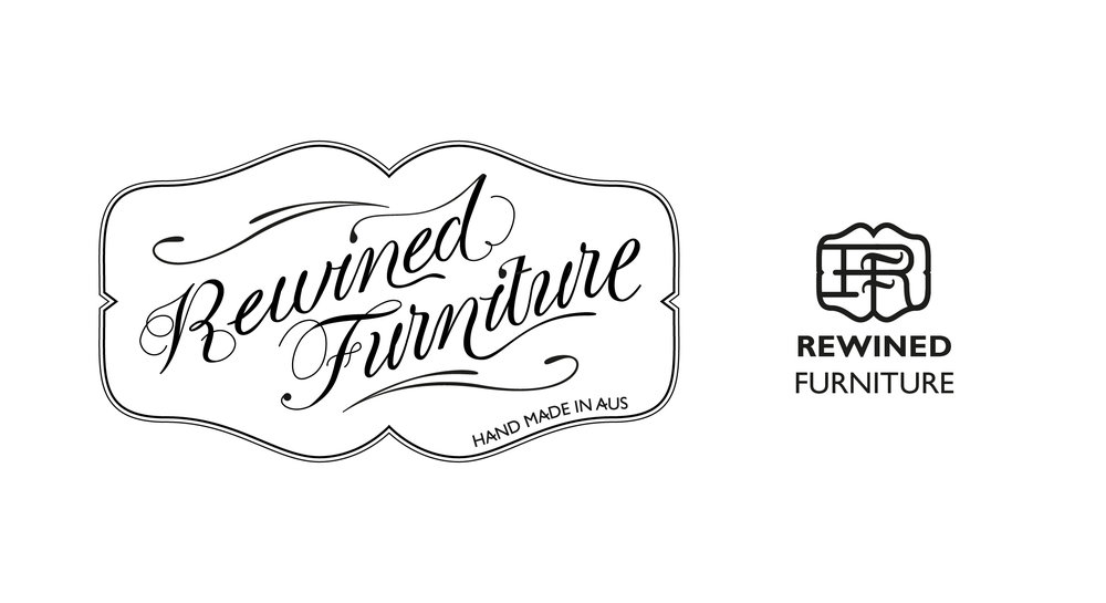 As well as a full logo, the brand also required a makers mark. A stamp to go on each piece of furniture to mark it as part of the Rewined group. The monogram on the right here is the makers mark, a simplified, bolded version of the full logo designed for small reproduction and metal embossing.
