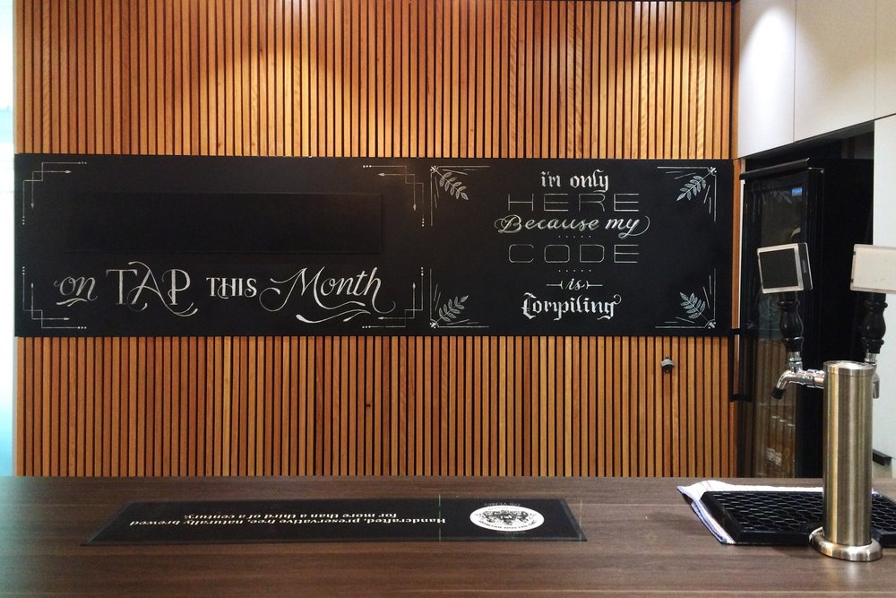 Cammy Sydney Office - Bar Chalk Lettering