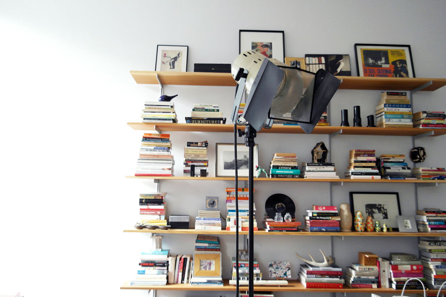 The bookshelves in our Boston condo.