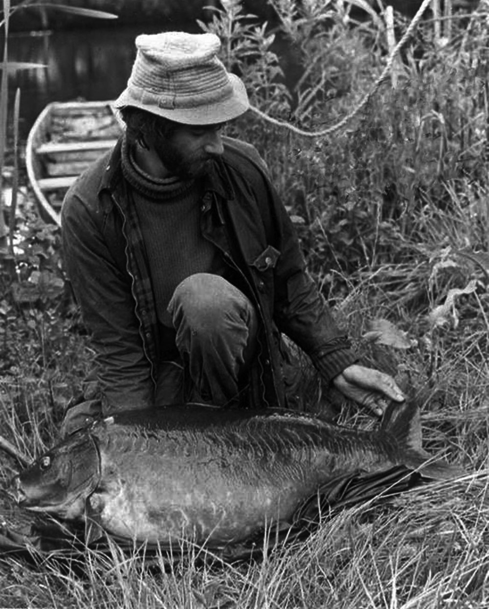 The UK's first 50lb carp - caught by Chris Yates on 16th June 1980. After the weigh scales were adjusted a true weight of 51½lb was recorded.
