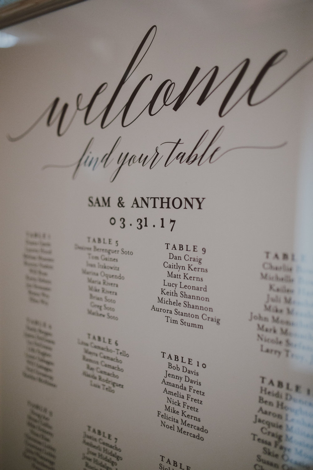 Brooklyn Wedding Seating Chart