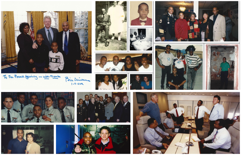"""A Journey in Photos (L to R) : 1. President Clinton's Last Radio Address, with Glenn, Ronda, Darius and Warren Powell, 2001; 2. Glenn Powell's grandparents Tom and Fannie Powell; 3. School photo: Glenn Powell, age 5 (1967); 4. Glenn's 3rd birthday party with siblings Eileen, Mike and Lauren(1965); 5. Margaret Powell's retirement celebration with children: Glenn, Eileen, Lauren and Mike(1999) ; 6. Glenn, Ronda and Darius celebrate Warren's 18th birthday; 7. Glenn and Ronda at AF One Christmas Party (1993); 8. Powell Family Christmas vacation(2012); 9. Presidential Asia Trip with: John Henderson, Houck O'Neal, Rudy Cunningham; 10. Glenn on Presidential Africa trip, at Senegal's """"Door of No Return."""" 1999; 11. Glenn Powell with Transportation Team; 12. Glenn and Ronda with Sec. Clinton, Ambassador McLarty and military officials at Retirement Ceremony,2002; 13. Glenn and News Anchor Connie Chung, Haiti; 14. Glenn and President's Personal Aide Kris Engskov aboard C-17, departing Bosnian 1999; 15. Glenn with President Clinton and senior Clinton aides on AF1: Pres. Clinton, Sec. R. Slater, B. Nash, Terry McAuliffe, T. Powell, and Col. Jake Simmons, IV."""