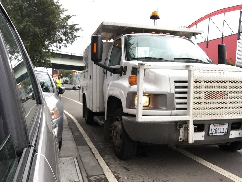 SFMTA truck blocks bike lane. There is a systemic blindness to pedestrian and bicyclist safety at SFMTA