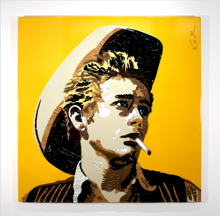 "James Dean   License Plates and Powder Coated Aluminum  50"" x 50"""